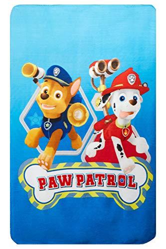 Paw Patrol Fleecedecke 100 x 150 cm mit den Welpen Chase und Marshall 100x150 cm für Kinder, Öko Tex Standard 100
