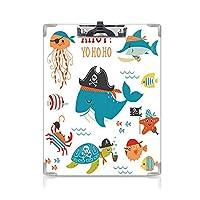 クリップボード A4 子供 かわいい画板 アホイ海賊クジラパイプフックカニタコキャプテンヒトデメカジキ航海水中プリント A4 タテ型 クリップファイル ワードパッド ファイルバインダー 携帯便利