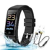 Montre Connectée Intelligente, Bracelet Connecté Cardio fréquencemètre Fitness Tracker d'Activité IP67 et Ecouteur Bluetooth Sport Smartwatch Homme Femme pour iPhone/Samsung/Huawei (Noir)