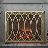 DGHJK Pantallas para chimeneas Malla para Chimenea con Acabado rústico para chimeneas prefabricadas, hogares Grandes y Estufas de leña Pantalla para Chimenea de Hierro Forjado, Dorado