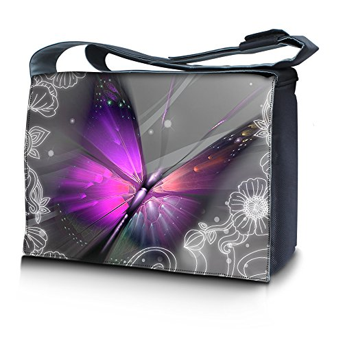 Luxburg Design - Bolso bandolera para portátil de 17,3 pulgadas, diseño de mariposa grande