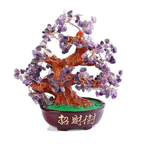 Crystal Tree Regalos de la Apertura de Amatista de Cristal árbol Bonsai Base de Resina del árbol del Dinero for la abundancia y la Suerte Craft Inicio Crystal Tree of Life