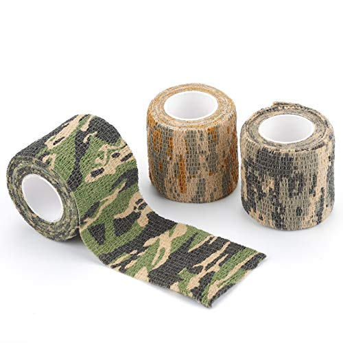 Rybtd 3 Rollen Outdoor Tarnband selbsthaftend Camouflage Tape 5 cm*4,5 m Camo Tape Tarnung Klebeband...