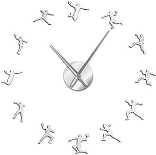 fxtdtt Patrón de Balonmano Reloj de Pared DIY sin Marco Reloj Grande entusiastas del Deporte Entrenador de Balonmano Mejor Regalo(Plata)