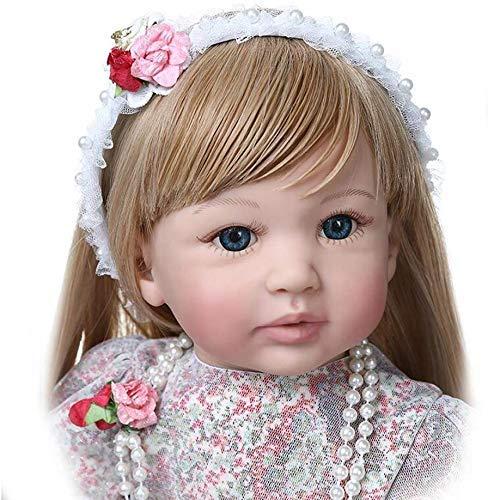 Muñecas bebé Reborn Baby Dolls 60 cm 24'Hecho a Mano Realista Reborn Babies Girls Princess Soft Touch Lifelike Baby Doll Long Blonde Hair para Juguetes Regalos Bebés para 3 años 1227dmsjwawa-917