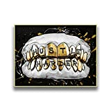 qingqingzijin Cartel Abstracto de Diente Dorado Pintura Decorativa Texto de inspiración Moderna Pintura Mural decoración del hogar A135 50 × 70 CM sin Marco