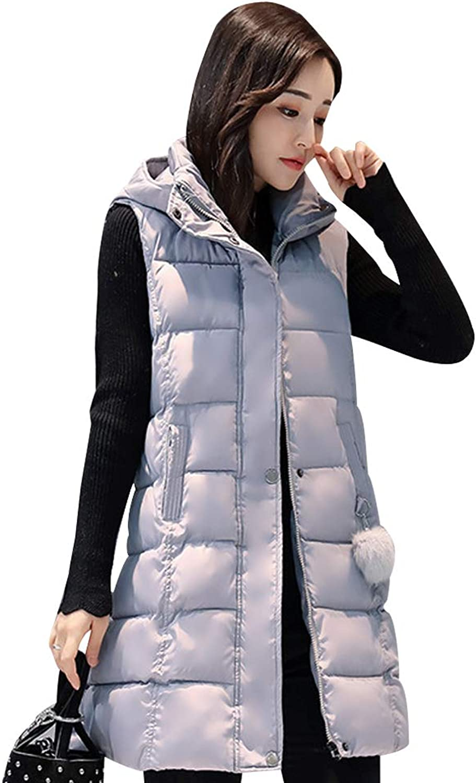 BOZEVON Womens Gilet - Slim Warmer Mid-Long Section Down Cotton Gilet Thick Outerwear