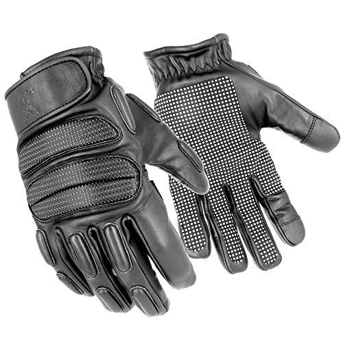 TacFirst SEK 1 NightDuty Security H006ND - Guanti da lavoro retro riflettenti e antitaglio, touch screen, guanti da moto (nero, XXL)