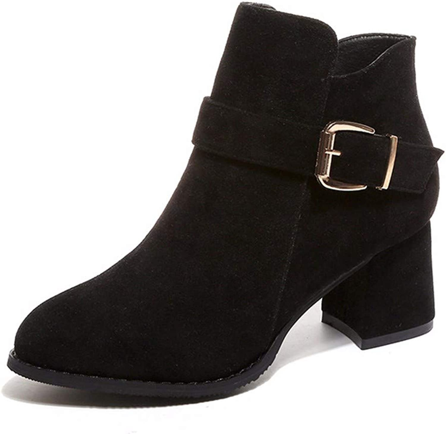 QPGGP-boots Side Zipper Boots, European and American Pointy Suede Martin Boots, Women's Heel and Boots Side Zippers.
