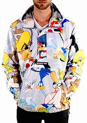 Members Only Men s Looney Tunes Pullover Half Zip Jacket with Hood, Silver Print L