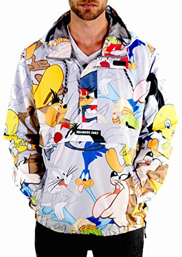 Members Only Men's Looney Tunes Pullover Half Zip Jacket with Hood, Silver Print XL