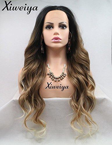 Lange Haarperücke mit Naturwelle, Gold-Blond-Braun zu Weiß, Spitzenperücke aus hitzebeständiger Kunstfaser, Kunsthaar-Perücke für Frauen von Xiweiya