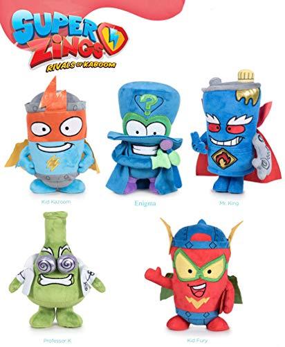 Magic Box Set 5 Peluche Felpa 20cm SUPERZINGS Normal Kid Kazoom Enigma Professor K Kid Fury Mr. King Originales Play by Play