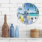 Silencioso Wall Clock Decoración de hogar de Reloj de Redondo,Decoración de spa, tratamiento de spa en playa tropical Sunshines Palm Trees Bungalows Deck,para Hogar, Sala de Estar, el Aula