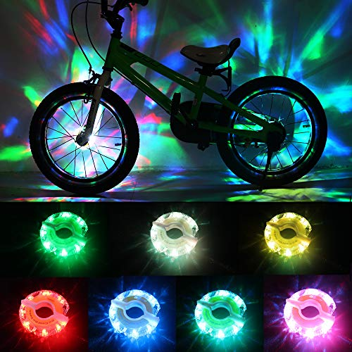 DAWAY Rechargeable Bike Wheel Lights - A16 Cool Led Kids Bicycle Spoke Lights, 2 Tire Pack, Safety Hub Accessories for Boys Girls Adults, Waterproof, Super Bright, Fun Cycling Gifts