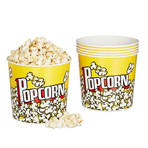 Relaxdays Popcorn Eimer, 6er Set, Popcorn Behälter Kunststoff, wiederverwendbar, 2,8 l, Retro Popcornbecher, gelb
