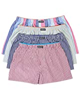 LAETAN Men's 4 Pack Soft Cotton Woven Boxer Short (LARGE Assorted Multicolor)