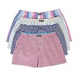 LAETAN Men's 4 Pack Soft Cotton Woven Boxer Short (XLarge, Multicolored)