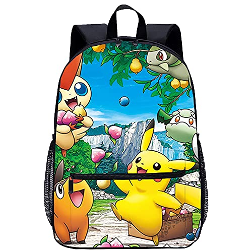 ZFWEI Sac à dos scolaire Pokemon pour adolescents mignon imprimé Bookbag sac à dos pour ordinateur portable femmes voyage décontracté sac à dos dessin animé anime