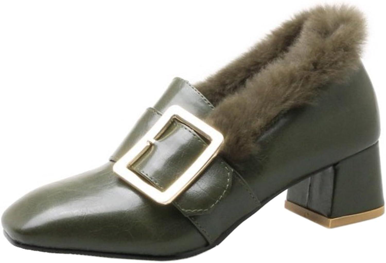 FANIMILA Women Autumn-Winter Slip On Block Heel shoes with Buckle