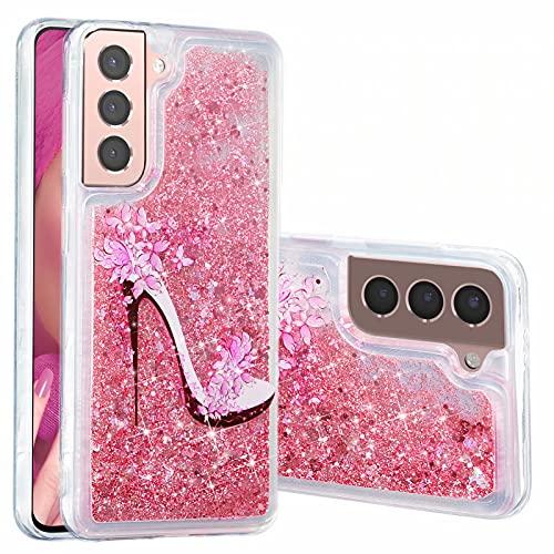 Miagon Flüssig Hülle für Samsung Galaxy S21 Plus,Glitzer Weich Treibsand Handyhülle Glitter Quicksand Silikon TPU Bumper Schutzhülle Case Cover-Rosa High Heels