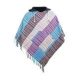 virblatt - Poncho hecho a mano para hombre y poncho mujer reversible Baja chaqueta y poncho de verano tallas - Wanderlust carbón L/XL