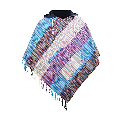 virblatt - Poncho Herren Baja Hoodie goa Jacke Jerga Ethno Pullover Alternative Kleidung Hippie Look -Wanderlust LXL Bunt