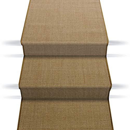 casa pura Sisal Treppenteppich Treppenläufer | viele Größen | natürlicher Läufer für den durchlaufenden Treppenbelag | Qualitätsprodukt aus Deutschland (Kork braun 80x350 cm)