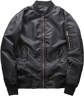 Yuanu Men's Coats Plus Size Military Style Stand Collar Flight Bomber Jacket Spring Autumn Casual Zip Elastic Cuffs Hem Bl...