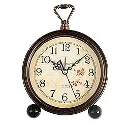 Konigswerk Loud Alarm Clock, Vintage Retro Decorative Quiet Non-Ticking Sweep Second Hand, Quartz Analog Desk Table Clock Battery Operated (Roses)