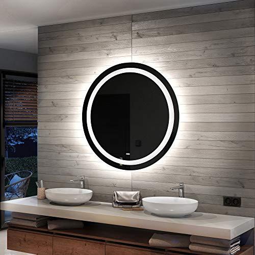 Artforma Rund Badspiegel mit LED Beleuchtung 50cm - Wählen Sie Zubehör - Individuell Nach Maß - Beleuchtet Wandspiegel Lichtspiegel Badezimmerspiegel   beleuchtet Bad Licht Spiegel L33
