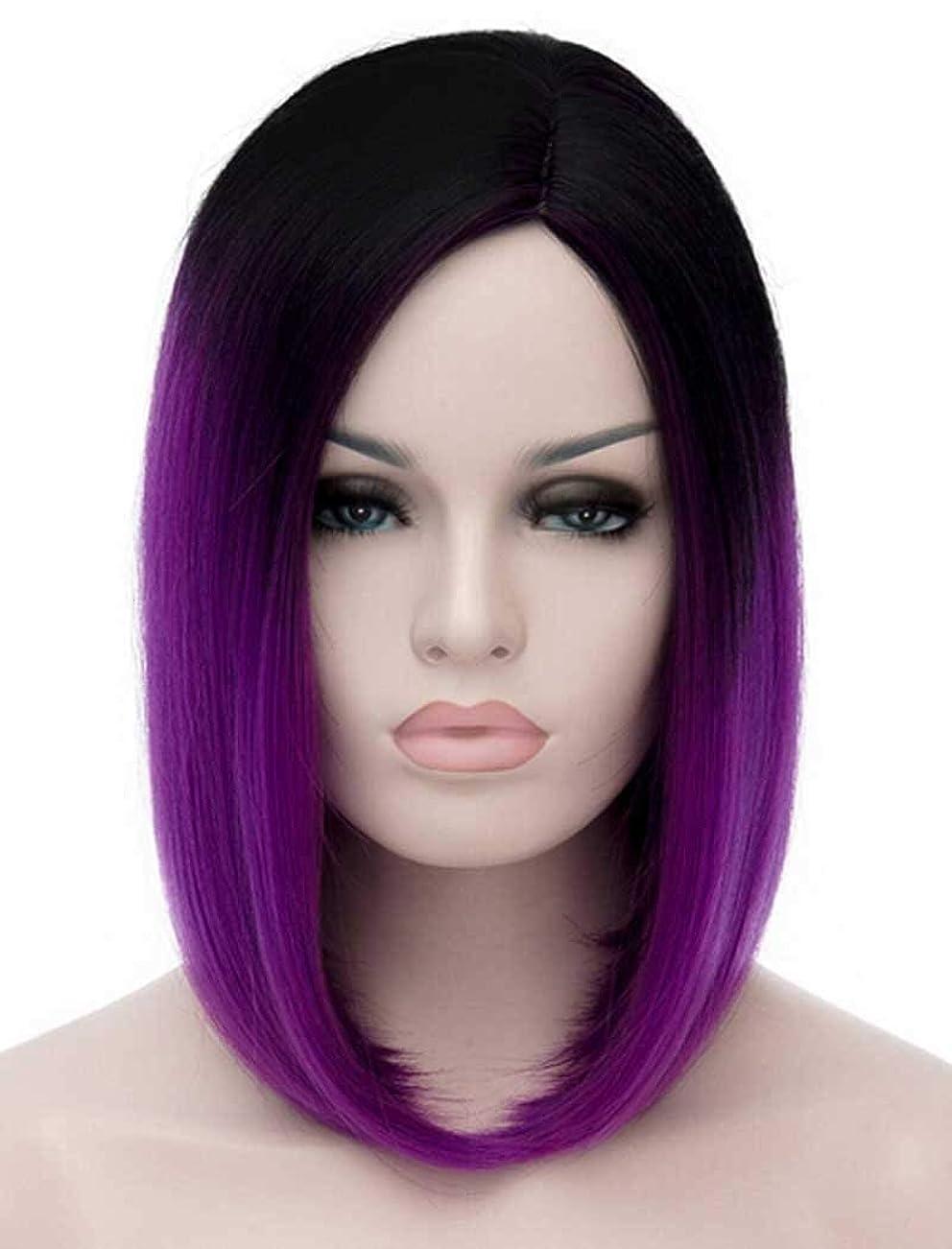 コンテンポラリーメガロポリス慣性かつらショートストレート合成髪アフロかつらオンブルブラックとパープルミックスかつら