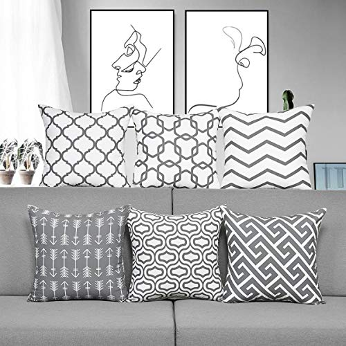 Alishomtll 6er Set Kissenbezug 45 x 45 cm Outdoor Kissenbezüge Zierkissenbezug Deko Kissenhüllen für Couch Zimmer Polyester, Grau