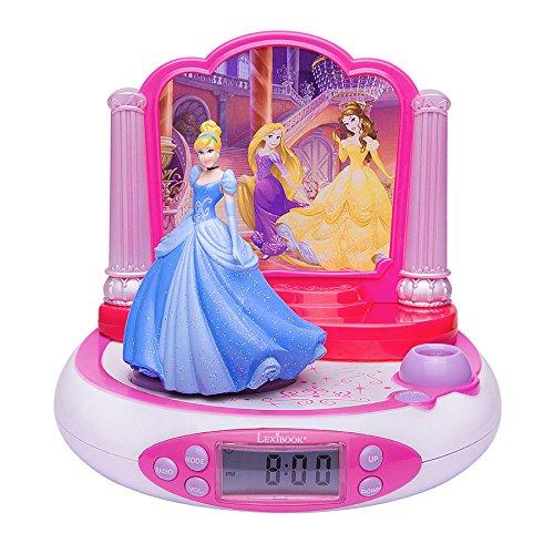 Lexibook Disney Princesses Cendrillon Radio réveil projecteur, Veilleuse intégrée, projection de l'heure au plafond, Cendrillon, effets sonores,     à piles, Rose/Blanc RP510DP