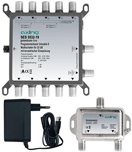 Axing SES 5532-19 Programmierbarer Unicable-2 Multischalter 32 Teilnehmer Sat Einkabel-Lösung