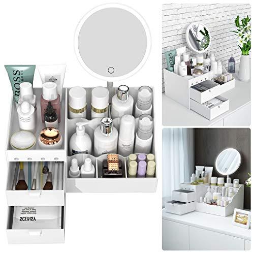 CRZJ Make-up Organizer, Kosmetik Aufbewahrungsbox - Mit LED-Lichtern Spiegel - Multifunktionale Make-up Schmuck Organizer - Für Badezimmer - Kommode - Waschtisch Und Arbeitsplatte