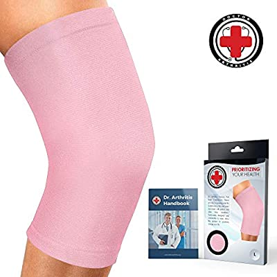 Doctor Developed Ladies Pink Knee Brace/Knee Support/Knee Compression Sleeve [Single] & Doctor Written Handbook -Guaranteed Relief for Arthritis, Tendonitis, Injury, Running & Weightlifting (Pink, XL)
