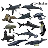 JOLLY SWEETS Sea Ocean Animals Pool Toys Bath Toys 12 Pack Set, Realistic Plastic Marine Figures toy, Sea Life Creature, Rubber Ocean Creatures Figures Collection, Dolphin, white shark, 2 - 4 inches.