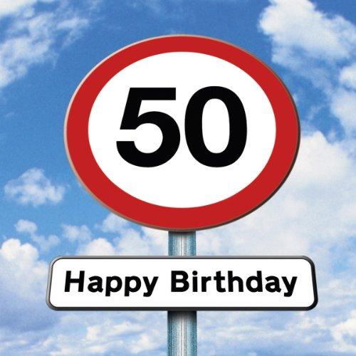 Twizler 50th Tarjeta de cumpleaños–Roadsign–50años–50años de edad tarjeta de cumpleaños