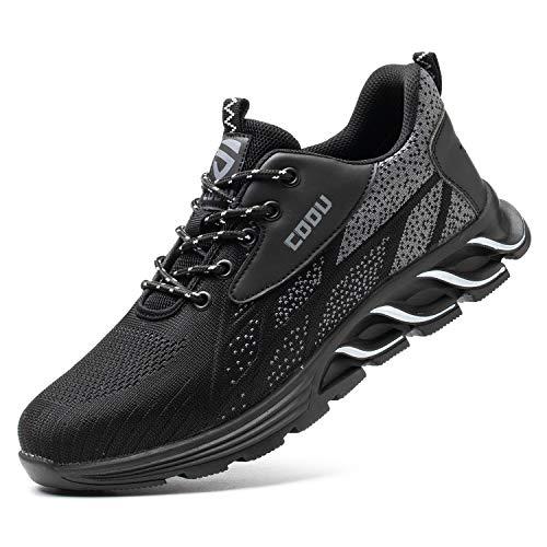 JUDBF Zapatos de Seguridad Hombre Mujer s3 Calzado de Trabajo Ligeros Transpirable Zapatillas de Seguridad con Punta de Acero 8082Black/44