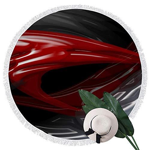 Perfecone - Toalla de playa redonda, color negro, rojo y gris