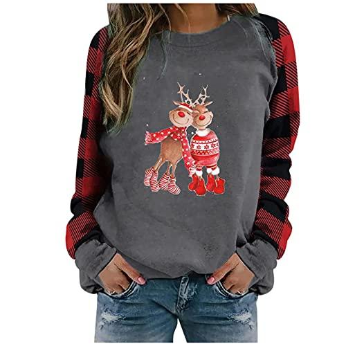Jersey de Navidad para mujer de manga larga a cuadros con impresión navideña de manga larga para otoño e invierno, gris, M