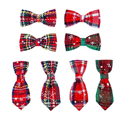 JpGdn 1Set(8pcs) Christmas Dog Collar Charms Xmas Doggie Bow Ties Neckties Sets for Small and Medium Cat Puppy Rabbit Collar Bows Bowknot Decoration Grooming Accessories Attachment
