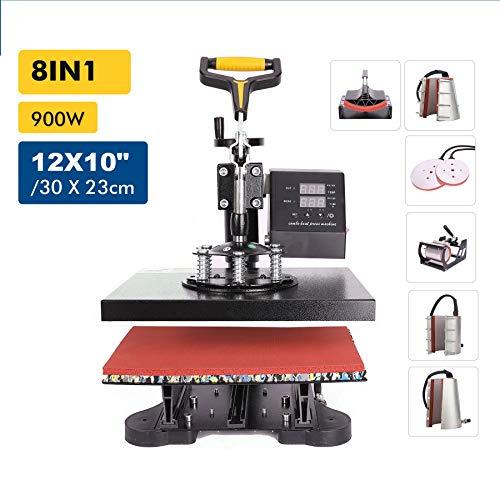 Valens 8 in 1 Heißpresse Hitzepresse Heat Press Machine 30x23cm Transferpresse Tassenpresse Textilpresse Mulitifunktional Sublimation 360 Grad für T-Shirts Becher Platten Kappe (30 x 23 cm)