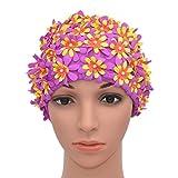 Medifier Gorro de natación con diseño de pétalo floral, estilo retro, para mujer, color morado