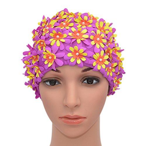 Medifier Cuffia da donna stile rétro con petali, motivo floreale, da piscina, Purple