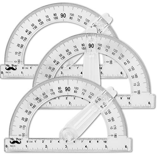 Mr. Pen- Protractor, 6 Inch Protractor with Arm, Pack of 3, Protractor for Geometry, Protractor Ruler, Drafting Tools, Protractor with swing arm, Protractors Classroom, Protactor 6 Inch, Math Geometry