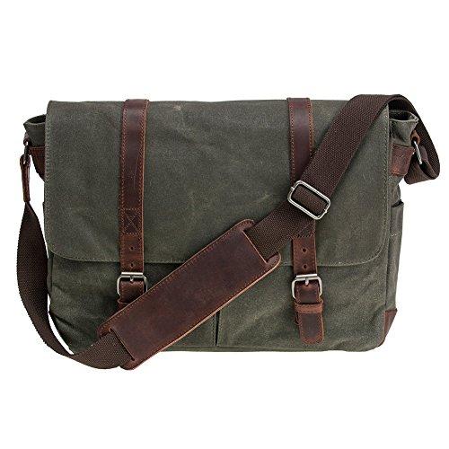 Waterproof Waxed Canvas 15  Macbook pro  15.6   Laptop Messenger Bag Men Business Vintage shoulder bag Briefcase