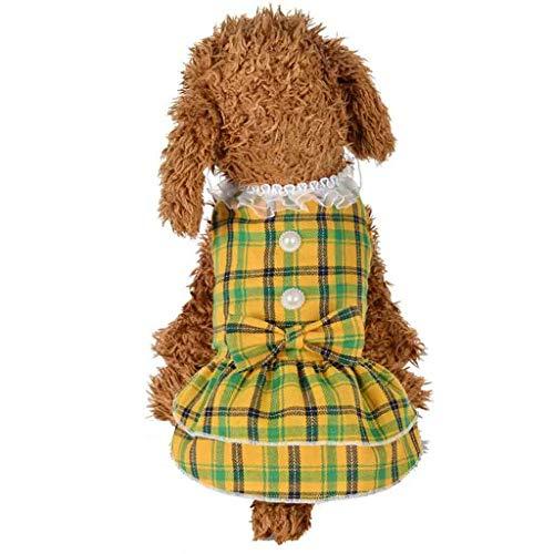 Somnrchun Ademende Zomerjurken voor Honden en Kat Prinses Parel Dot Huisdier Honden Kleding Tule Rok Vestidos Kostuums Puppy Bruiloft Petstyle (Kleur: Geel, Maat : XS)