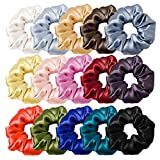 Set di 15 elastici per capelli, in seta, per ragazze e donne, con sacchetto